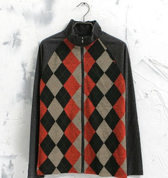 Black men's slim fitting zip up jacket with black, red and brown diamond abstract pattern. Small sized.