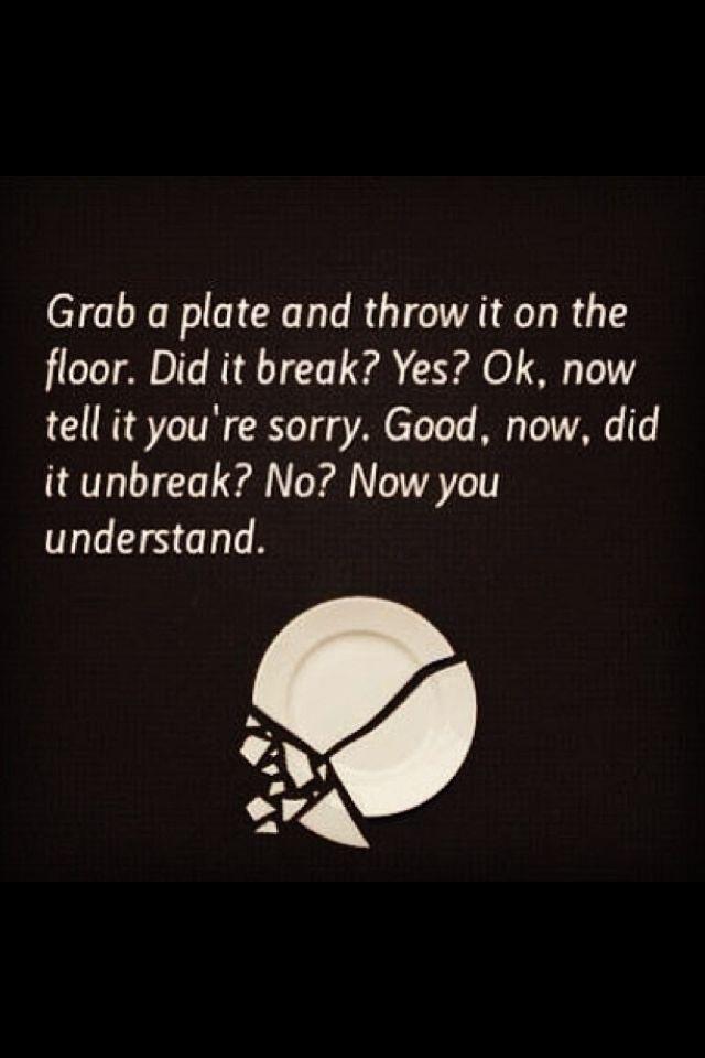 Prendi un piatto. Buttalo per terra. Chiedigli scusa. Bene. Adesso è di nuovo intero? No? Adesso capisci.