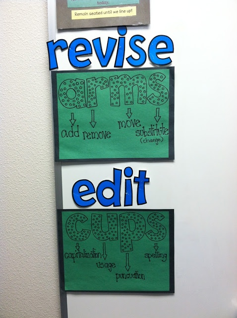 Acronyms to help your kiddos remember what revising and editing are all about!