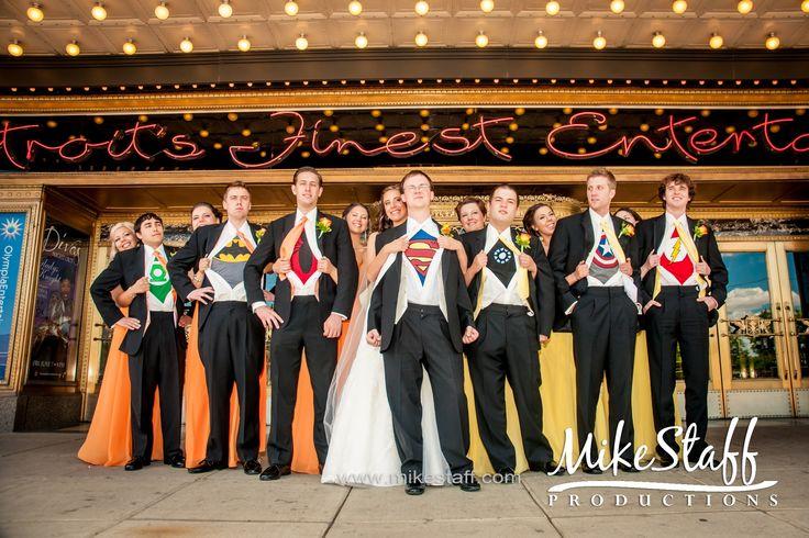 Superhero wedding. Find more at http://www.myweddingconcierge.com.au #weddings #suits #menswear