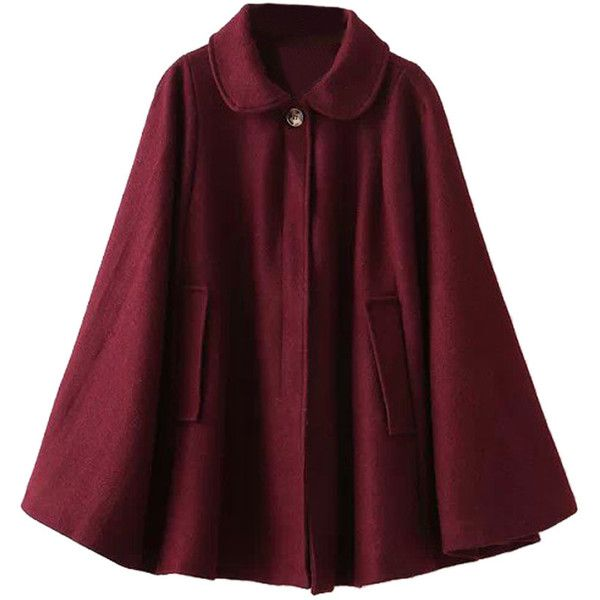 Choies Wine Red Lapel Poncho Cape Woolen Coat (£37) ❤ liked on Polyvore featuring outerwear, coats, jackets, cape, tops, red, lapel coat, wool cape coat, wool poncho coat and woolen coat