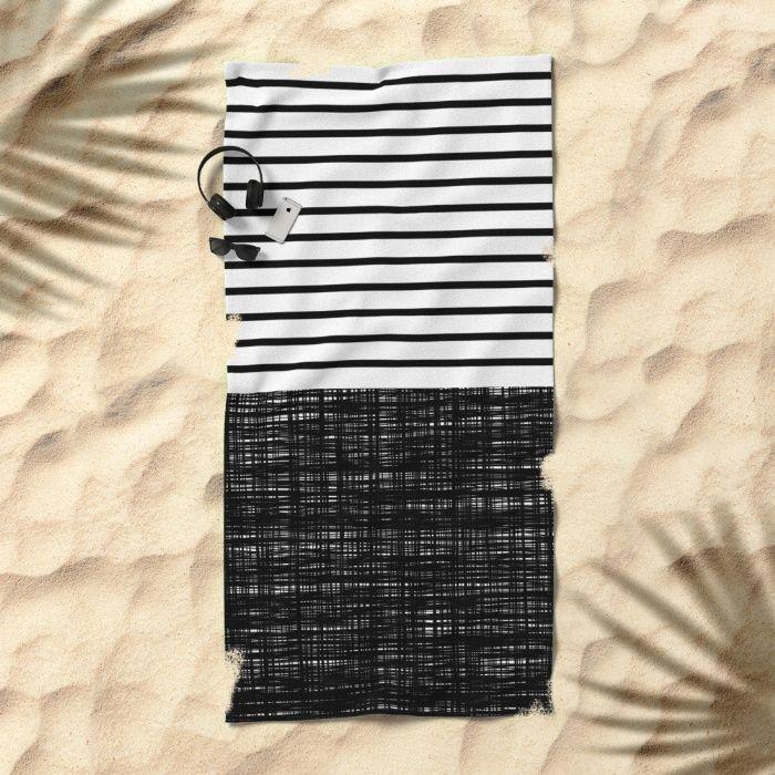 platno (black stripes) Beach Towel by Trebam | Society6 | 20% off + #freeshipping on all #trebam + #society6 #showercurtains #bathtowels #beachtowels #rugs | July 22nd Only! #sale #homedecor #beach #summer