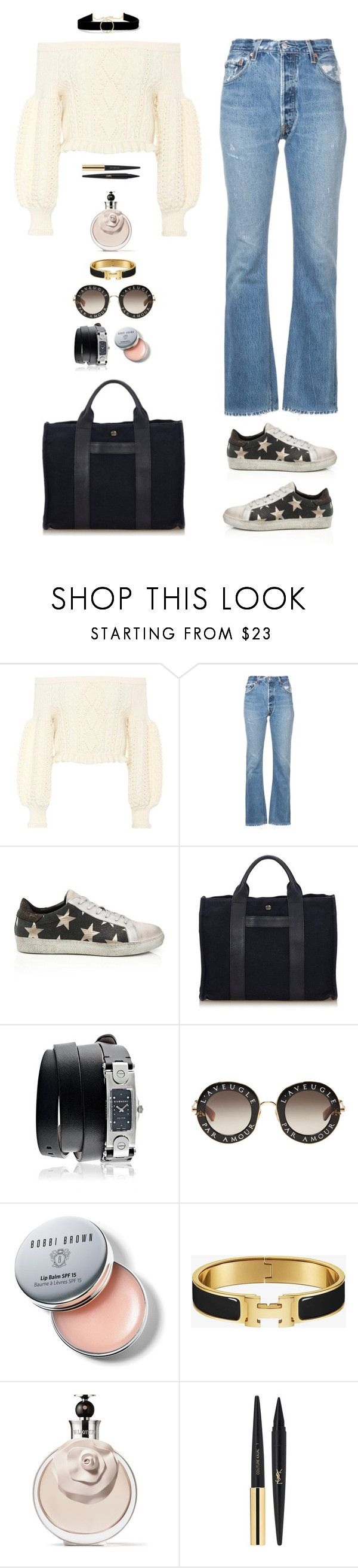 """""""Viborg"""" by xoxomuty on Polyvore featuring Valentino, RE/DONE, Hermès, Givenchy, Gucci, Bobbi Brown Cosmetics, Yves Saint Laurent, Anissa Kermiche, ootd and polyvoreOOTD"""