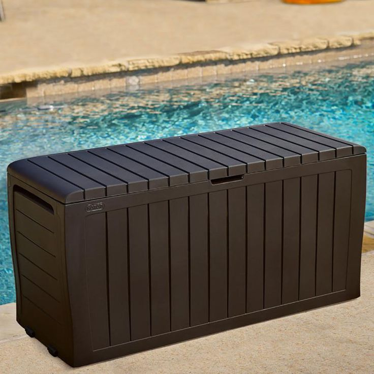 pool storage box home depot kmart outdoor australia weatherproof details gallon all weather resin patio garden deck new
