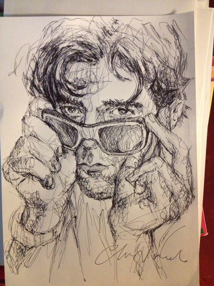 He - black pen drawing by Chiara Nardo