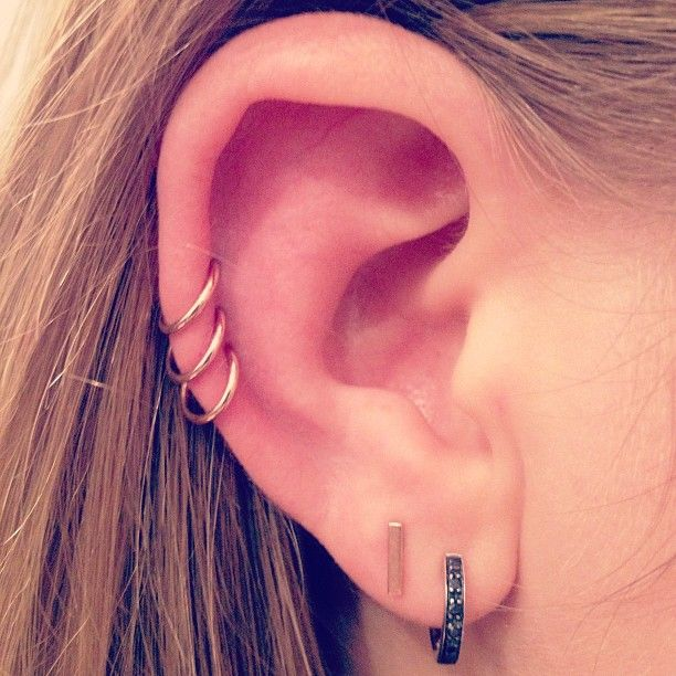 I want to do this...three on one side for each of kids, and five on the other for each of my grandchildren.   Three hoops in the ear ~ I can't wait to get these piercings!