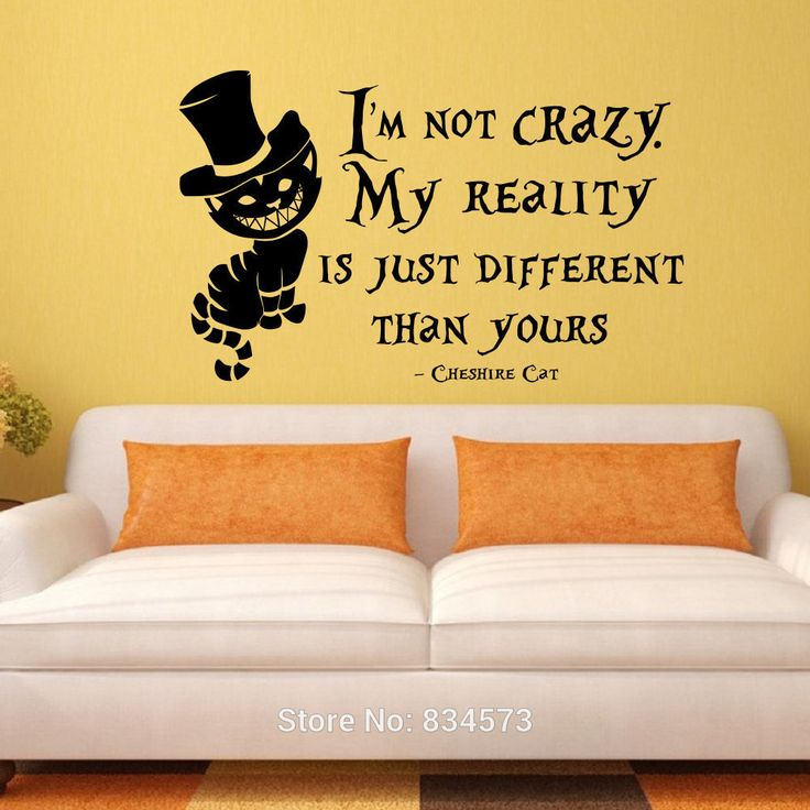 Alice In Wonderland Crazy Cat Wall Art Sticker Decal Home DIY Decoration Decor Wall Mural Removable Room Decal Stickers 57x92cm