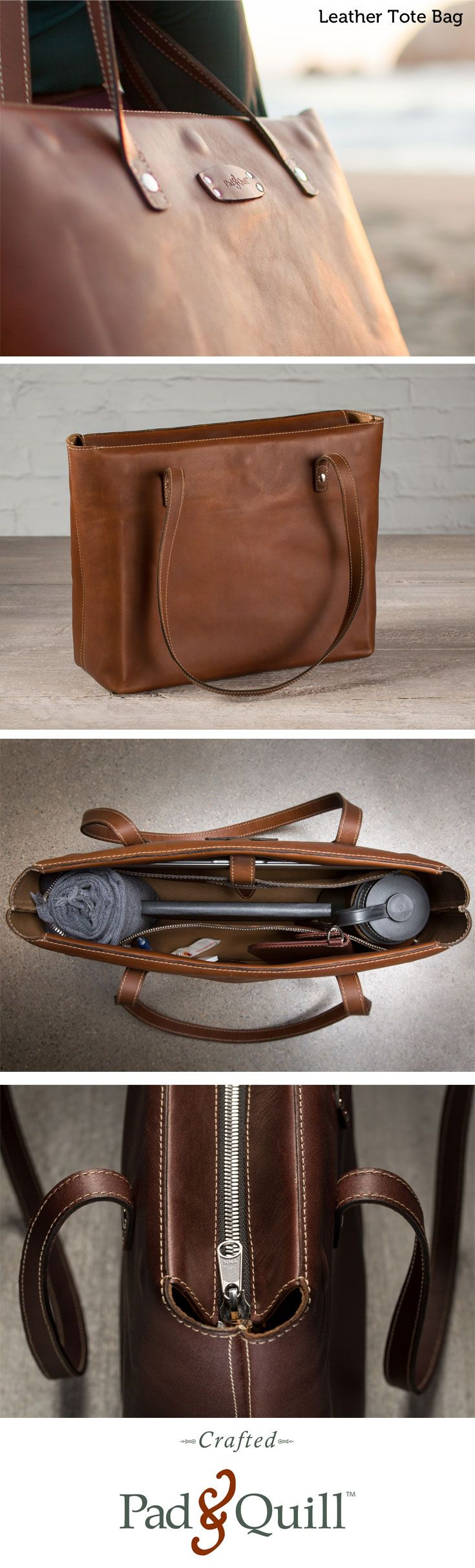 "www.PadandQuill.com Meet the Leather Tote Bag. Crafted for today's tech lifestyle with ample room for up to a 15"" Macbook, iPad, chargers and accessories, and more. A special zippered pocket keeps your loose items safe. Ever health conscious, the tote also boasts a leather, snap-closed loop to hold your water bottle (or wine depending on the day) and ample room for all of your daily needs. Perfect from the board room to the beach."