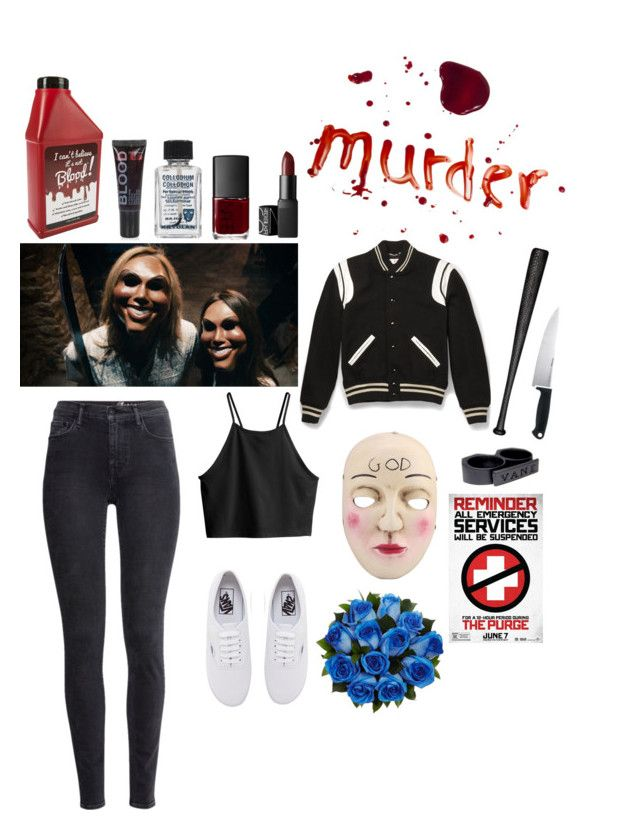 """""""Halloween Costume: The Purge"""" by you-turn-my-camera-on on Polyvore featuring Elisabeth Weinstock, Kershaw, Yves Saint Laurent, H&M, Vans, NARS Cosmetics and Topshop"""