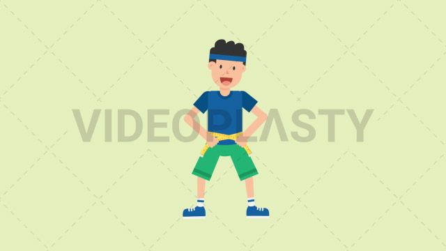 A man wearing a blue t-shirt green shorts and a blue headband is measuring his waist to see how much weight he lost Two version are included: normal (with a start animation) and loopable. The normal version can be extended with the loopable version Clip Length:10 seconds Loopable: Yes Alpha Channel: Yes Resolution:FullHD Format: Quicktime MOV