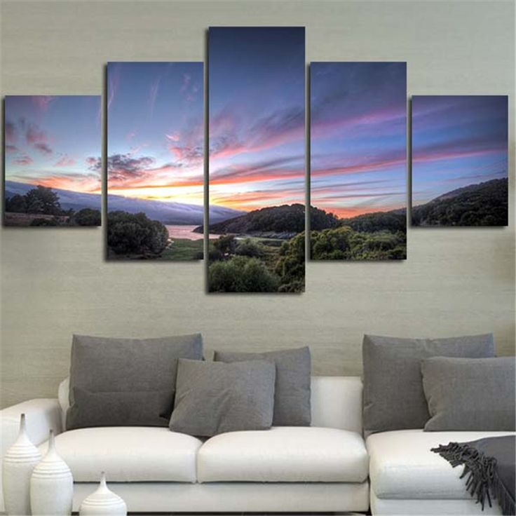 2016 5Planes Home Decoration Wall Painting Landscape Purple Sky Morden Modular Art Picture On Canvas For Living Room