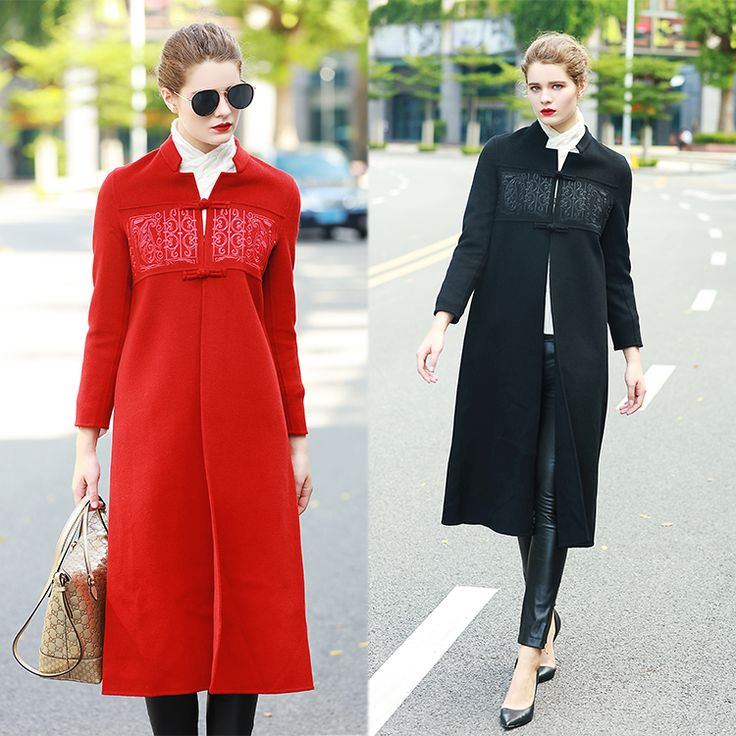 Winter Womens Jackets and Coat Elegant female X-long Embroidery Thicken Warm woolen coat windbreaker overcoat Plus size L1029