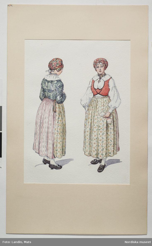 Festdräkt Sunnerbo härad, Småland. Akvarell av Emelie von Walterstorff. (E.v.Walterstorff). @ DigitaltMuseum.se