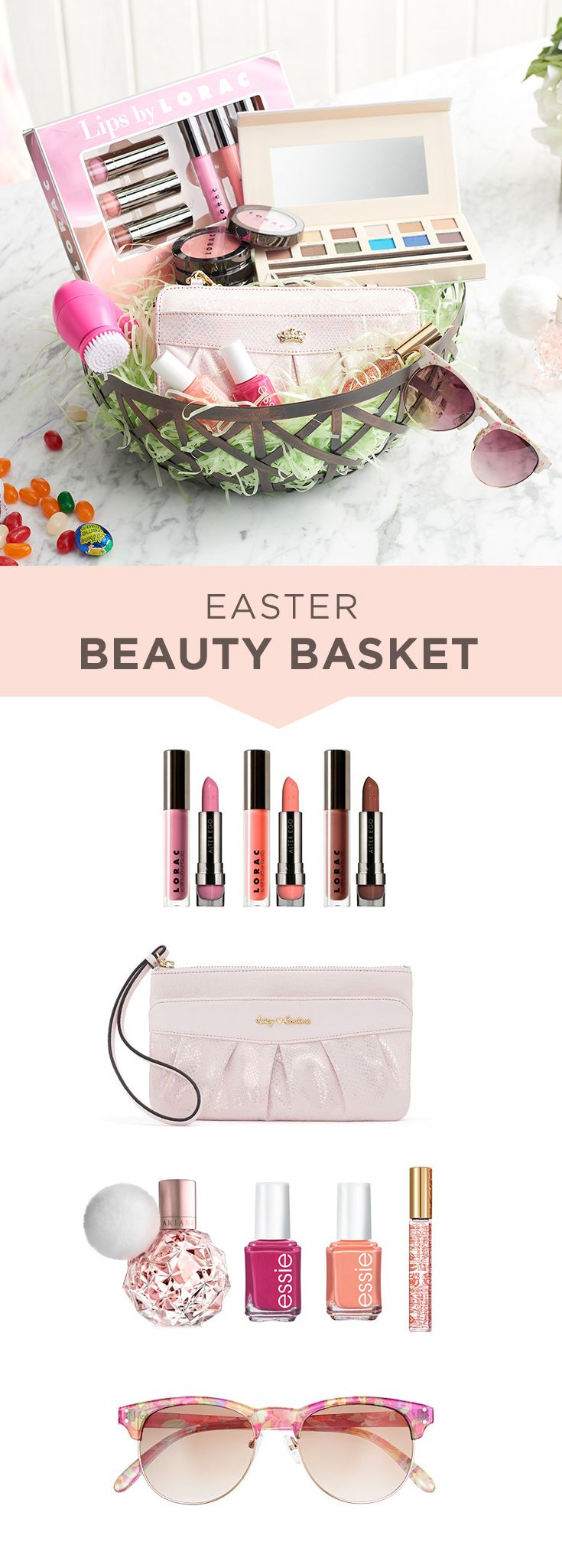 Put a pretty spin on the classic Easter basket with a beauty product focus. Start with a SONOMA Goods for Life decorative basket and pad with paper grass. Then fill with an array of beauty products including LORAC lipstick collection, essie nail polish and Coach Poppy perfume. Top off the basket with a chic pair of sunglasses or mini wristlet from Juicy Couture. Get set for Easter at Kohl's.