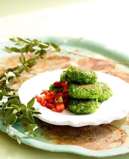pea patties with strawberry salsa.