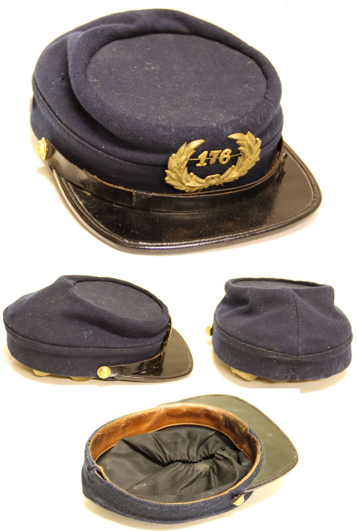"This cap is actually a post-war kepi as worn by GAR veterans. the ""176"" badge on the front refers to his GAR Post number. The post Civil War patterns have a much lower crown."
