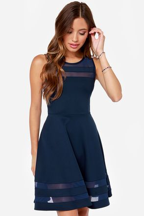 Unique Navy Blue Dress - Mesh Dress - Striped Dress - $44.00