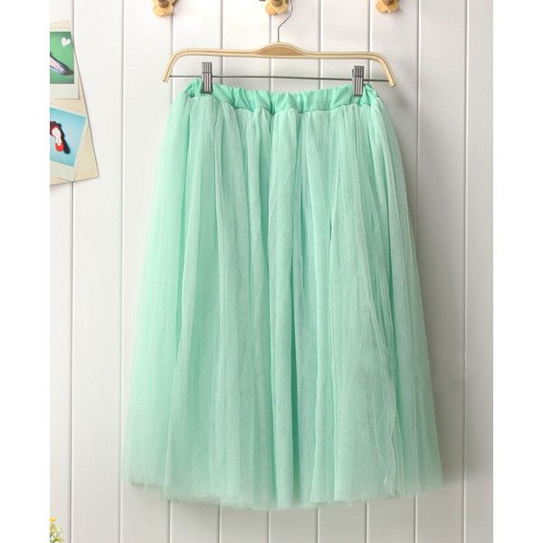 Modern Romantic Princess. Mint Green Mesh Full Skirt. Color Choice ❤ liked on Polyvore