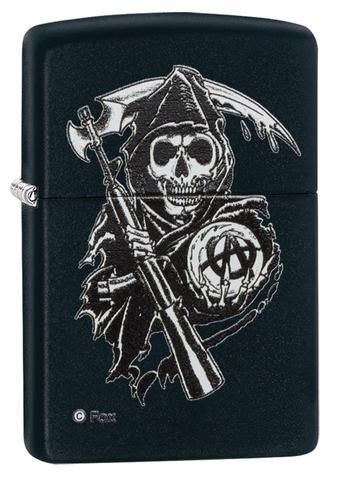 Show you're a true Sons of Anarchy fan with this collectible lighter. This black matte lighter features the SAMCRO Grim Reaper with rifle, scythe blade and anarchy crystal ball. Color Image Imprint Method Black Matte Finish Classic Case Lifetime guarantee...