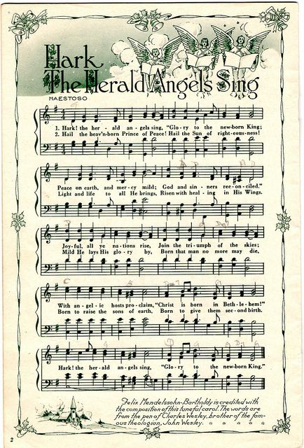 ♥ Sheet Music Printables for gift wrapping, or DIY Paper Projects .... Hark The Herald Angels Sing by raidensgrammie21, via Flickr