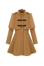 Stylish Euramerican Stand Collar Capelet Trench Coat
