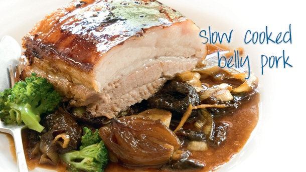 Oven-roasted slow-cooked belly pork
