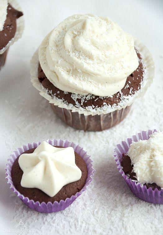 Schokoladenmuffins mit Kokoscreme