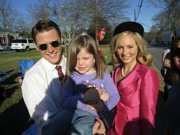 Candice Accola and Zach Roerig with his daughter