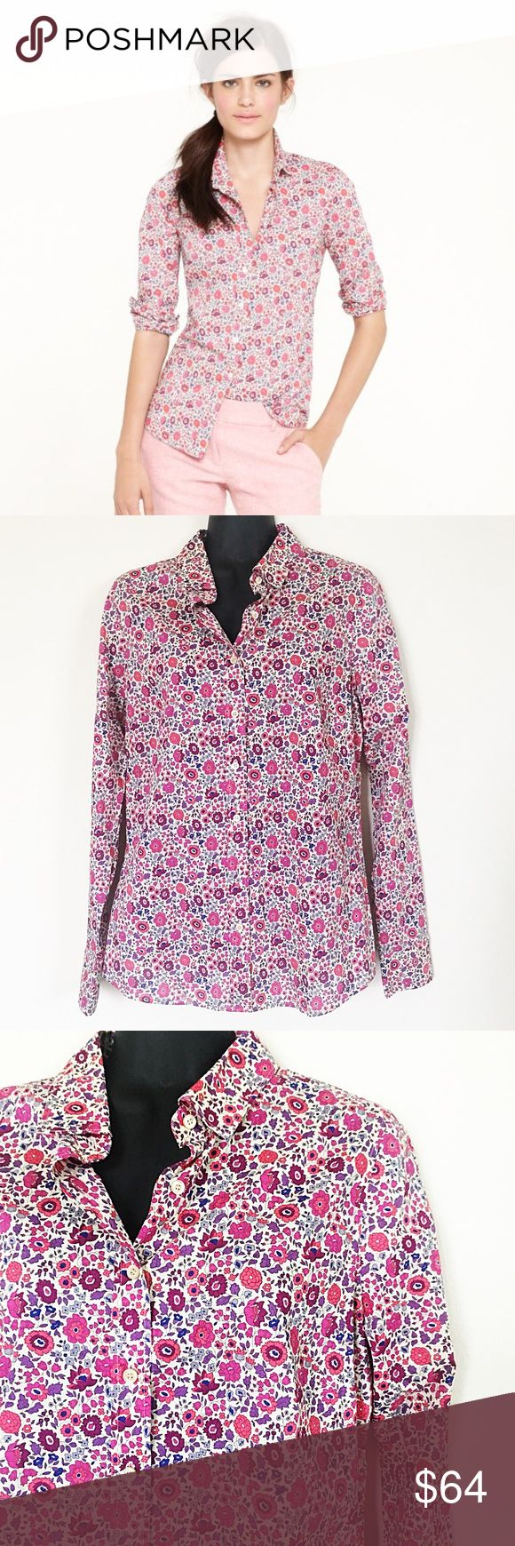 J Crew Liberty Perfect Shirt In D'Anjo Style 86155 •Liberty 'Perfect' Shirt in D'Anjo •Signature Print from London's Liberty Art Fabrics •- A Vintage Pattern from the Liberty Archives •Floral Pattern •Wear Anywhere •Relaxed, Comfortable Fit •Precisely Placed Bust Darts •Back Princess Darts for a Slimming, Waist Defining Fit Size: 6 Color: Pink, Red, White Condition: Like New Material: 100% Cotton  Measurements: Bust: 37 inches Length: 26.5 inches All measurements are approximate.  No stains…