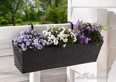 Blumenkasten Balkonkästen Balkonpflanzer schwarz Polyrattan Pflanzkübel Blumen