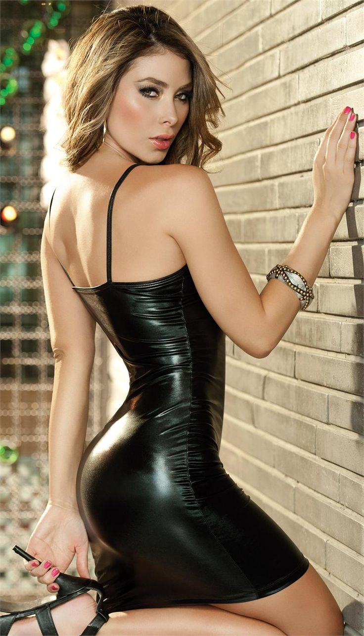 Sexy latex and leather dress this gorgeous babe is wearing
