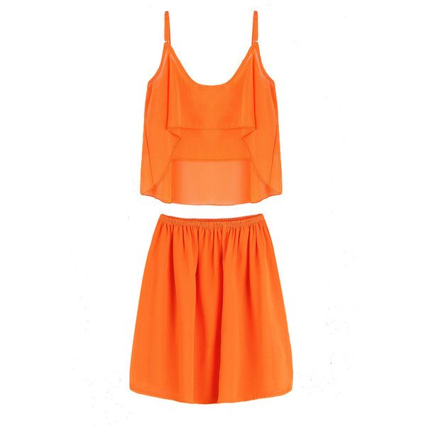 Yoins Orang Cami Top Co-ord ($12) ❤ liked on Polyvore featuring orange, tops suits & co-ords, orange cami, cropped camisoles, cropped cami, strappy cami and ruffle cami