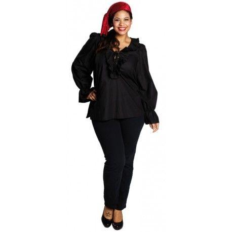 Déguisement chemise pirate noire femme grande taille