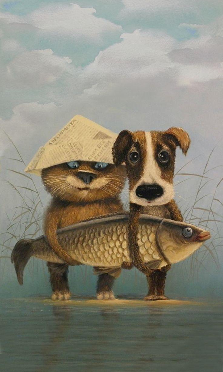Прикольные картинки с собаками и кошками нарисованные, картон для