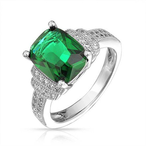 Christmas Gifts Rectangle Cushion Cut Simulated Emerald Engagement Ring Micropave 925 Silver ? Jewelry from Selena