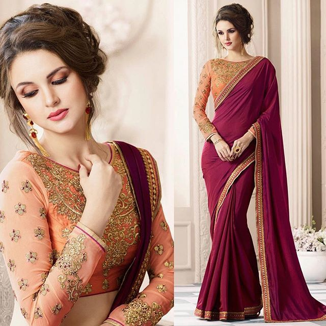 Wine silk saree with dupion blouse online. Please msg or whatsapp at 0169179180 for order details.  #saree #andaaz #trends #marriage #wedding #followforfollow #like4like #likeforlike #follow4follow #design #designer #festival  http://www.andaazfashion.com.my/festival/diwali-collection