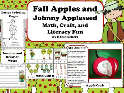 Johnny Appleseed set and 3-D life cycle of an apple tree craftivity