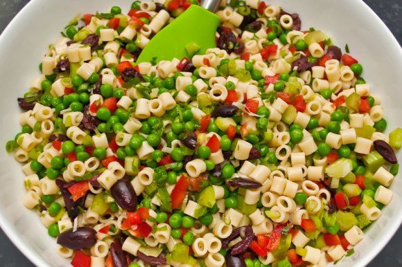 Mac salad mixing the ingredients Old Fashioned Creamy Macaroni Salad