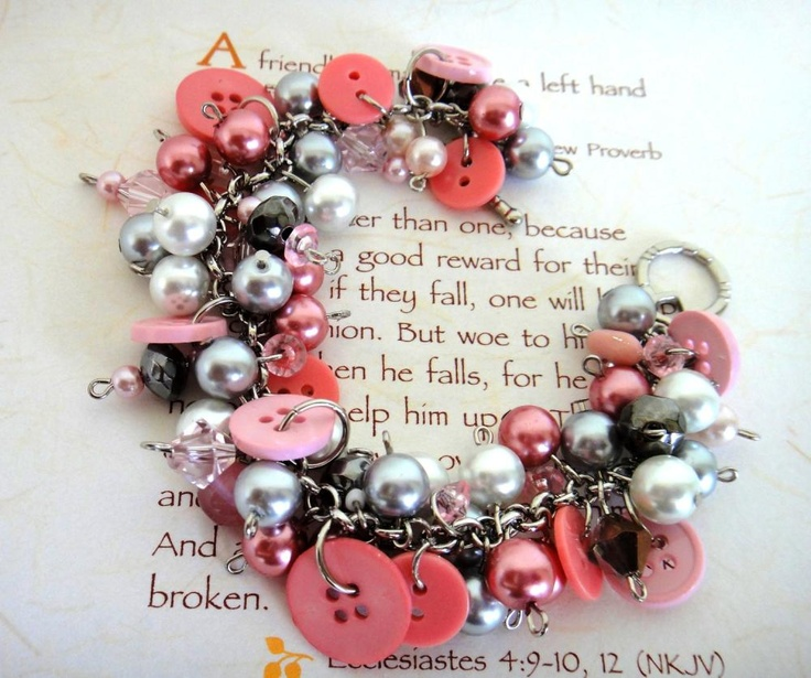 Pink and Silver Charm Bracelet, Buttons, Chunky Bracelet,