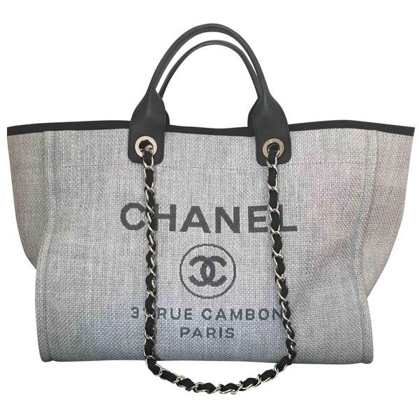 Cloth tote CHANEL (€2.045) ❤ liked on Polyvore featuring bags, handbags, tote bags, tote purses, gray handbags, gray purse, chanel and grey purse