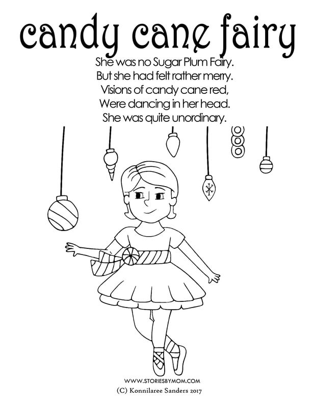 She Was No Sugar Plum Fairy But She Had Felt Rather Merry Visions Of Candy Cane Red Were Dancing In Her Head She Candy Cane Fairy Coloring Pages Fairy Coloring