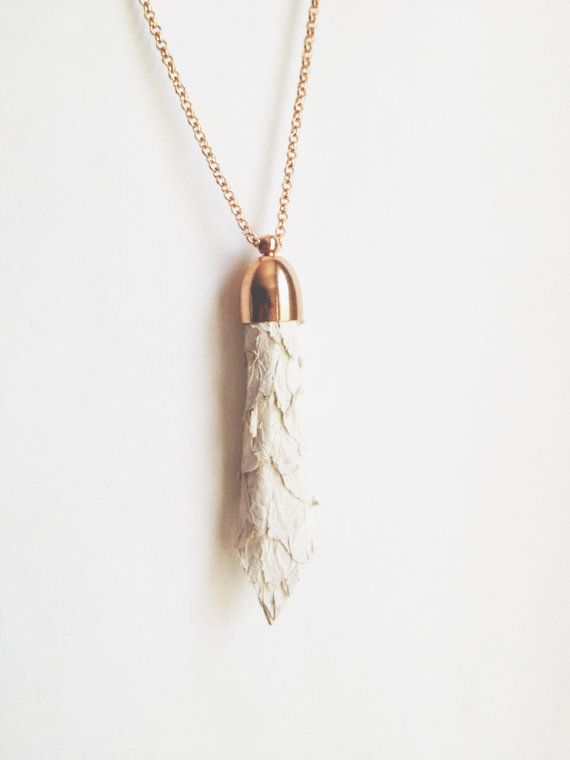 dory necklace  white fish leather & copper by flockaccessories, $36.00