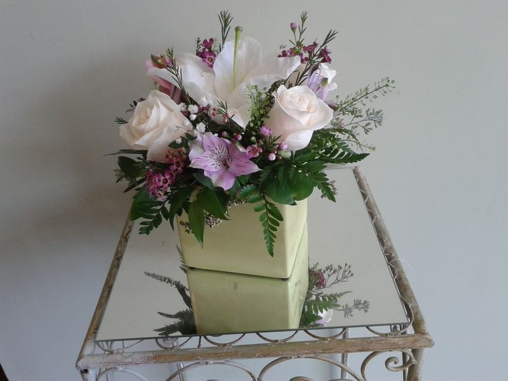 White + Pastels in green cube vase