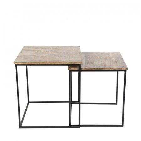 Der #Beistelltisch Hemis Schwarz Mit Holz Quadratisch Im 2er Set. Dieses  Hemis Tisch Set Ist Eine Erweiterung Zu Deinem #Einrichtungsstil, ...