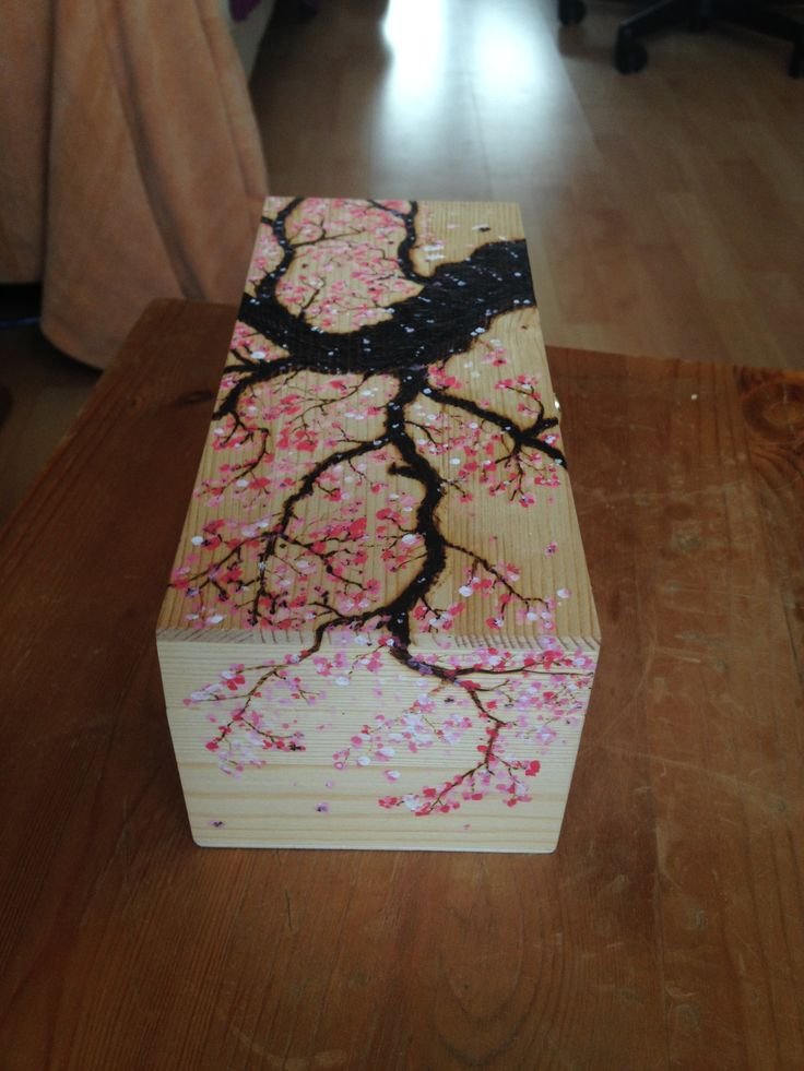 pirography teabox - cherry blossom tree