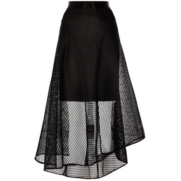 Coast Elin Mesh High Low Skirt, Black found on Polyvore featuring skirts, hi lo skirt, short front long back skirt, coast skirts, flare skirts and hi low skirt