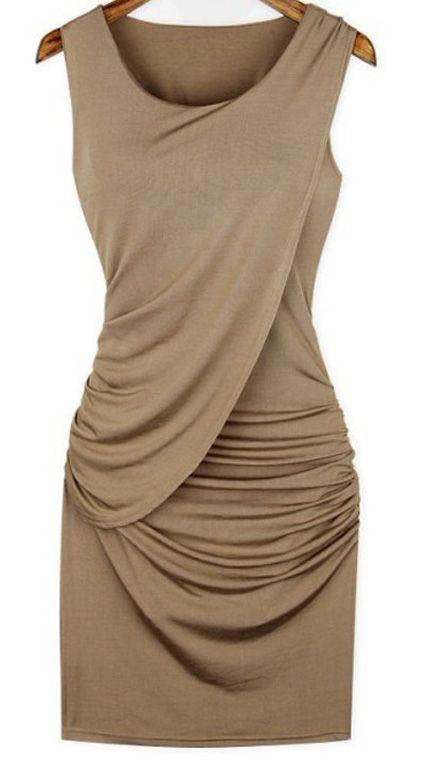 Pleated Collarless Stretch Fabric Dress. This is a must have!