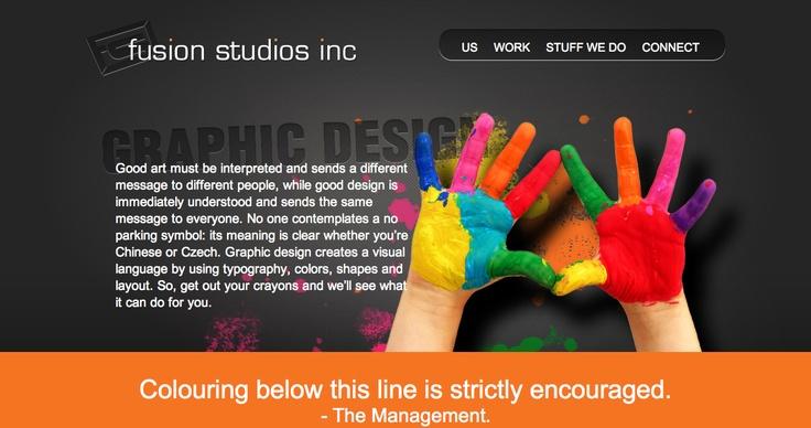 Graphic Design page Fusion Studios.