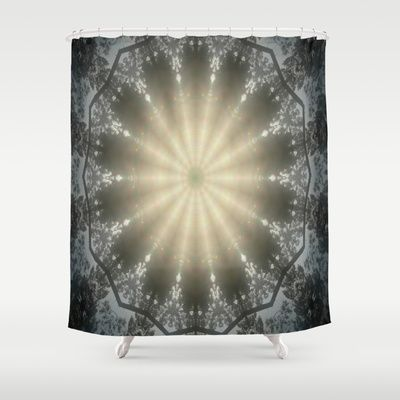 Pattern made from a photo of the sun shining bright over some mountains. #shower #curtain
