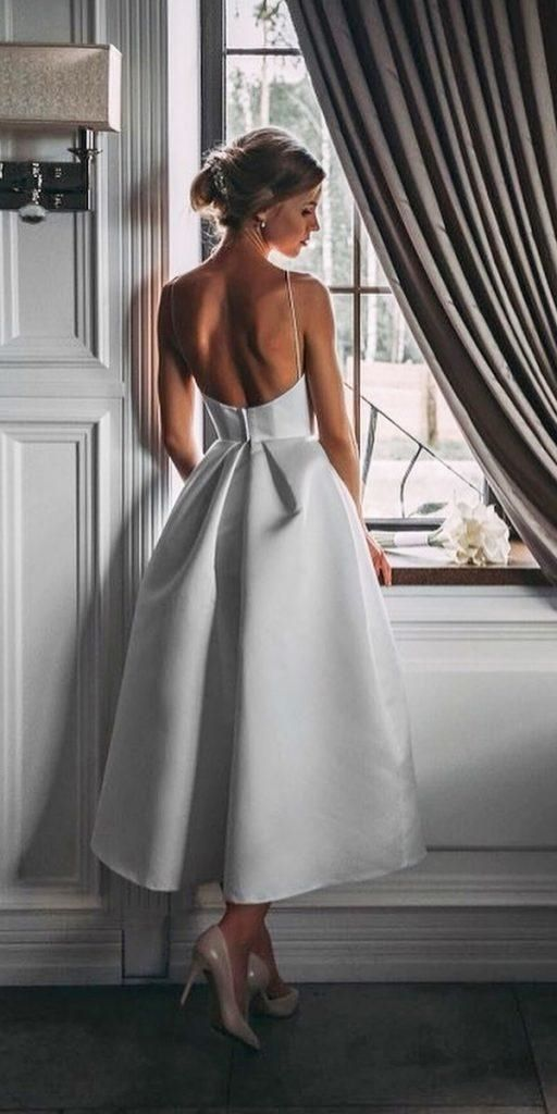 Spaghetti Straps White Prom Dress with Pockets Backless Tea-Length Party Dress